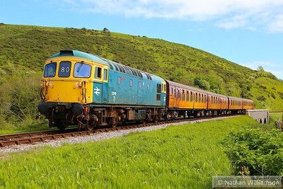 33111 heads north past Corfe Castle Foot Crossing on: 1N10 15:00 Swanage to Norden  11/05/14