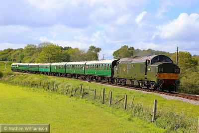 D6700 (37350) heads south past Corfe Castle Foot Crossing on the: 2S21 16:45 Norden to Swanage  11/05/14