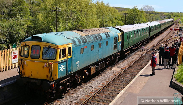 33111 departs Corfe Castle on the rear of the: 2S11 13:00 Norden to Swanage  11/05/14