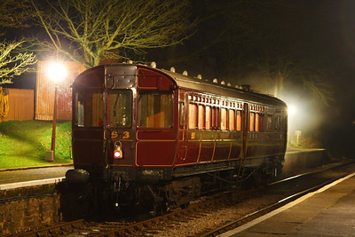 Steam Rail Motor No 93 stands in Crowcombe Heathfield for a night photo shoot  23/03/13