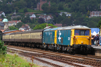 73207 & 73119 stand in Minehead ready to work the: 13:45 Minehead to Bishops Lydeard  17/06/12