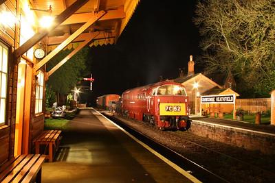 "D1035 ""Western Yeoman"" entering Crowcombe Heathfield 12/11/11"