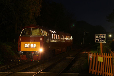 """D1035 """"Western Yeoman"""" stabled just off Crowcombe Heathfield Station whilst 33048 was being used for the photos 12/11/11"""