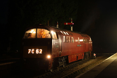 """D1035 """"Western Yeoman"""" stables in Crowcombe Heathfield Station whilst 33048 was being used for the photos 12/11/11"""