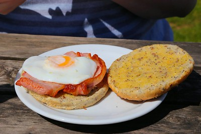 """Bacon & Egg Bap. Served in the """"Driftwood Cafe"""" in Blue Anchor  07/06/15"""