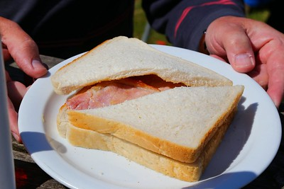 """Bacon Sandwich. Served in the """"Driftwood Cafe"""" in Blue Anchor  07/06/15"""