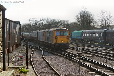 As the sun sinks in the sky the class 73s arrive with a terminating service from Sheffield Park