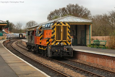 The class 09 with a brake van special on the way back from East Grinstead
