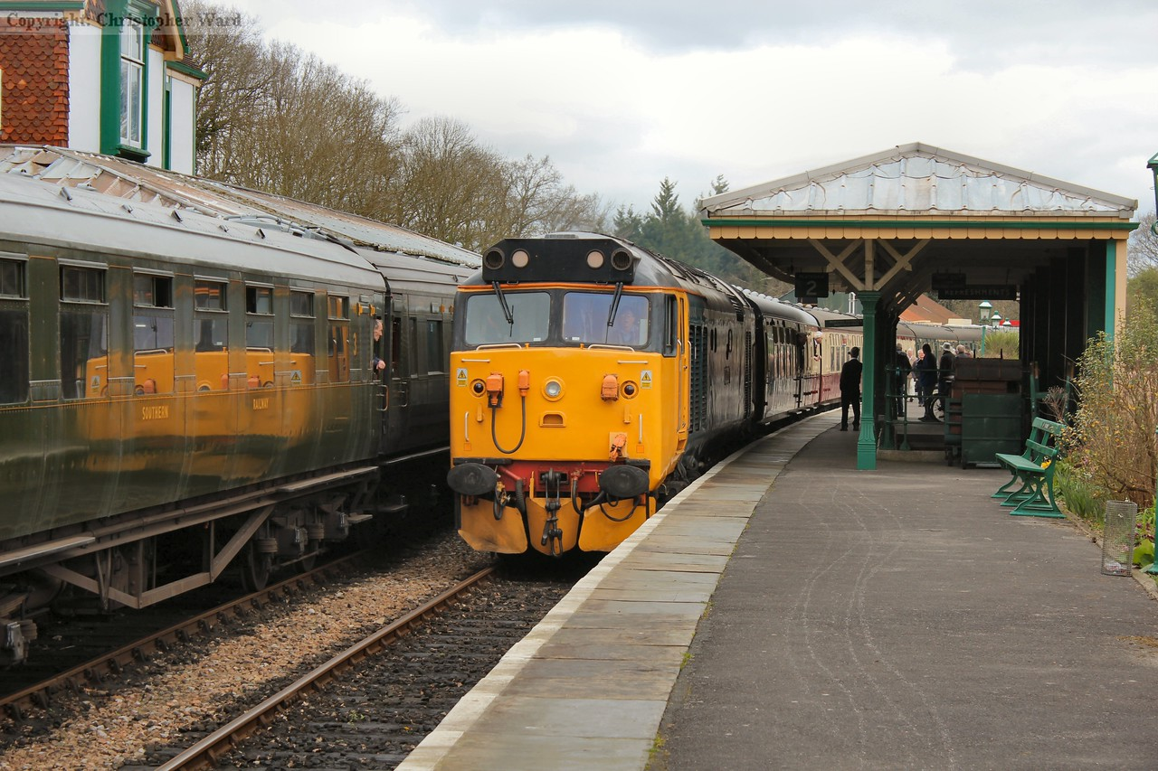 The rather incongruous pairing of large logo class 50 and Southern Railway Maunsell coaching stock