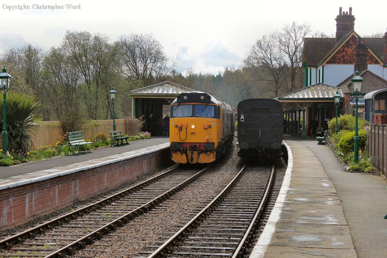 Running wrong line due to the shuttle occupying platform 1, 50049 arrives with an East Grinstead train