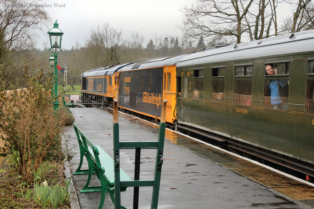 The unusual combination of class 66, class 73 and SR Maunsell carriage