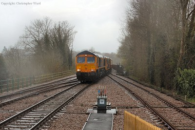 66770 arrives at a damp and dreary East Grinstead