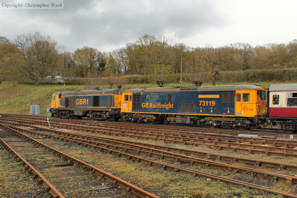 The remaining class 20 pilots 73119 out of Horsted