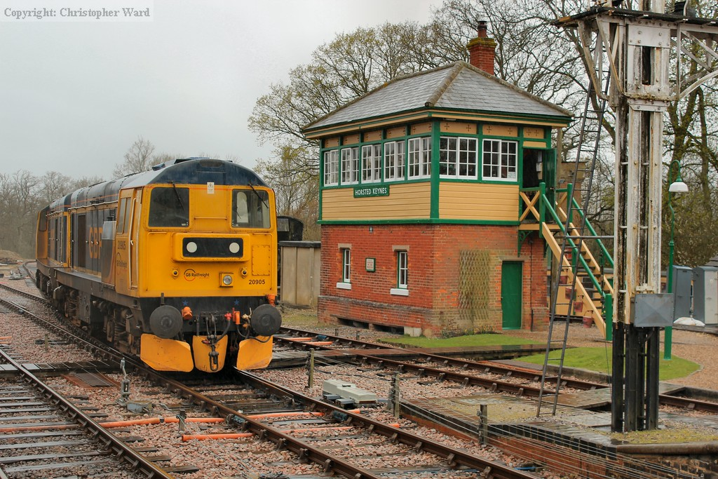 The class 20s next to the Horsted Keynes signalbox
