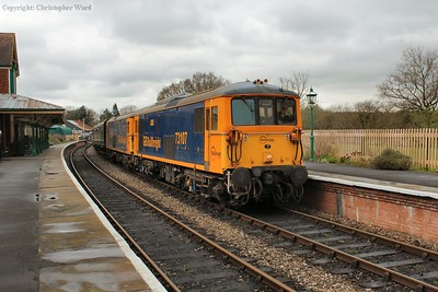 73107 slows for the station stop