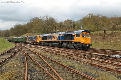 66770 and 73138 arrive at Horsted Keynes