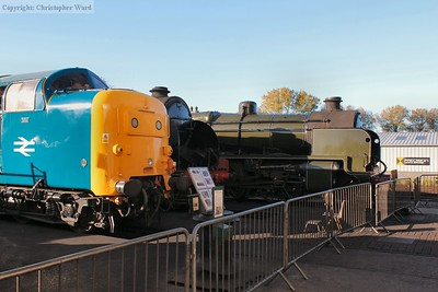 The Deltic makes a startling contrast against two of the more classic Maunsell designs