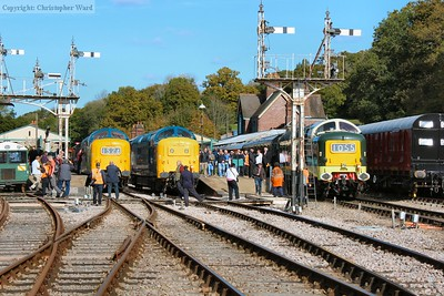 55009, 55019 and 55002 are lined up at the south end of Horsted Keynes for a photo call