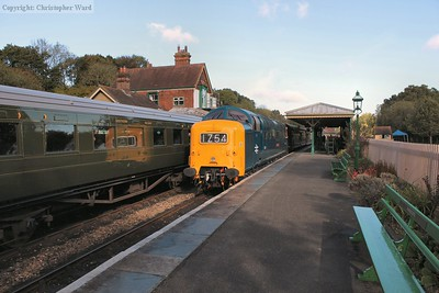 The Deltic draws into the quiet rural station