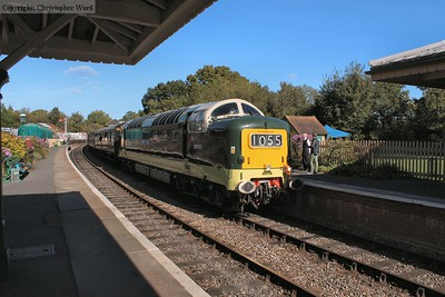 The green Deltic under a beautiful blue sky