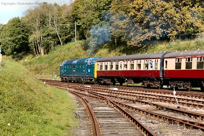 D9009 pulls away in the autumnal countryside