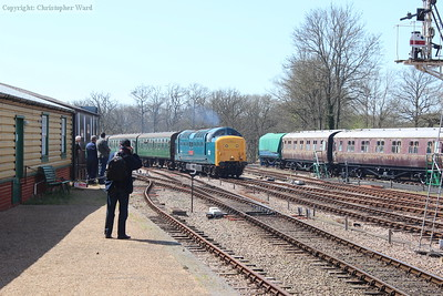 Clag emanates from the Deltic as she approaches