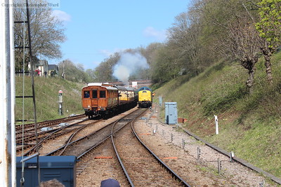 D9009 clags into life as 55019 prepares to enter the station