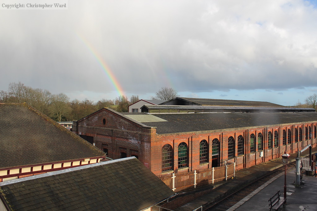Another rainbow leads into the engine shed at Sheffield Park