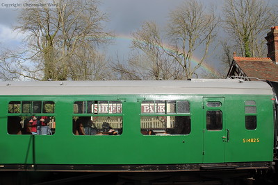 A rainbow appears over the Bulleid coach S1482 while awaiting departure