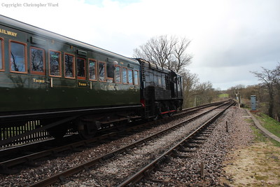 The 08 powers the next train away from Sheffield Park