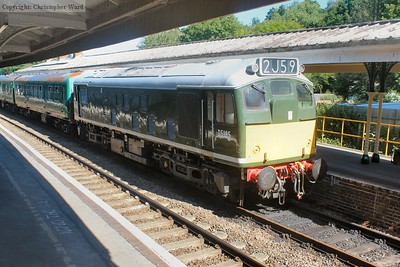 Class 25 D5185, visiting from the GCR, stands at Eridge having bought in a morning service from Tunbridge Wells