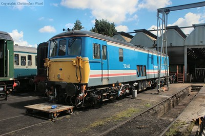 "73140 in the distinctive NSE ""toothpaste"" livery"