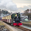 'Linda' sets off across The Cob at Porthmadog with the Ffestiniog Railway's 10:10 departure on 26/03/2014.