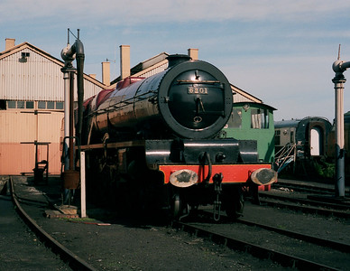 Preserved Stanier Pacific 6201 Princess Elizabeth seen on a visit to Didcot in (August/September) 1987.