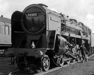 My father took this dramatic portrait of 92203 Black Prince at the 1968 Longmoor Military Railway Open Day.  The naming ceremony for Black Prince took place earlier that day.