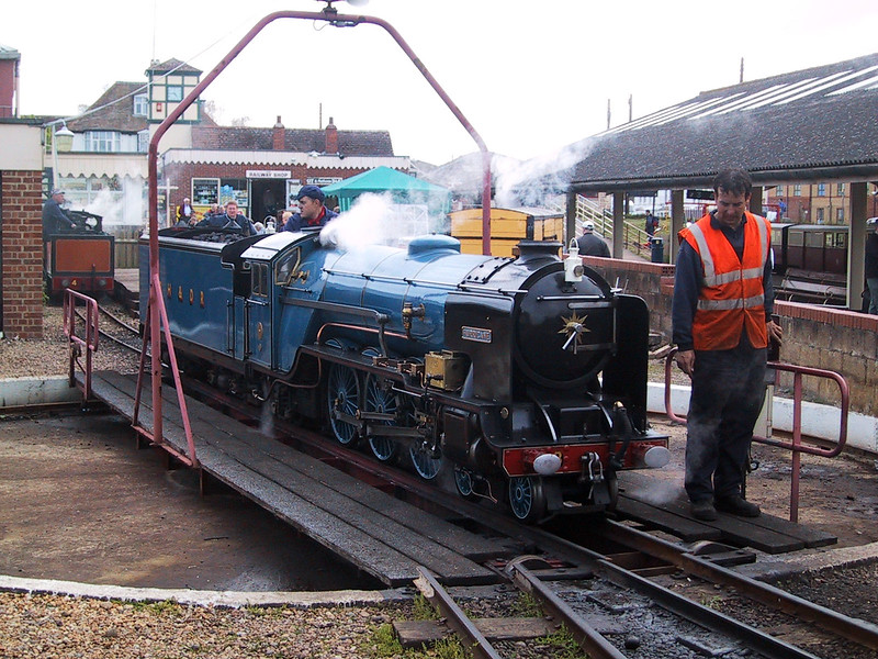 No 8 Hurricane on the turntable at New Romney during the Steam and Diesel Gala on 11 May 2003.  I took this on an early Canon Ixus, one of the first generation of digital cameras.