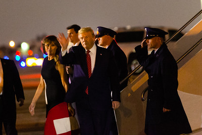 President Donald Trump waves at supporters after exiting Air Force One at Palm Beach International Airport in West Palm Beach on Friday, February 14, 2020. [JOSEPH FORZANO/palmbeachpost.com]