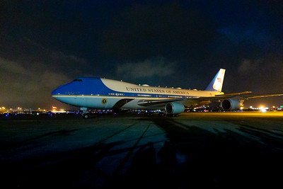 Air Force One taxis to its parking place at Palm Beach International Airport in West Palm Beach on Friday, February 14, 2020. [JOSEPH FORZANO/palmbeachpost.com]