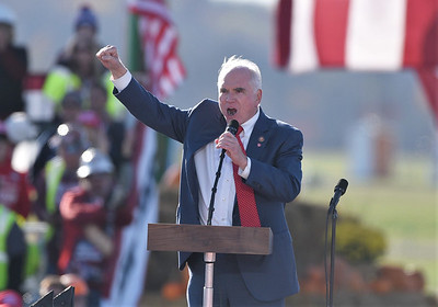 U.S. Rep. Mike Kelly delivers a speech prior to President Trump's arrival. Seb Foltz/Butler Eagle