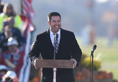 Republican congressional candidate Sean Parnell speaks prior to President Trump's arrival at the Pittsburgh Butler Regional Airport. Seb Foltz/Butler Eagle