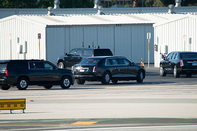 President Trump lands at Santa Monica Airport.