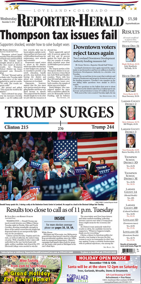 Loveland Reporter Heraldl 2016 Presidential Election Front page