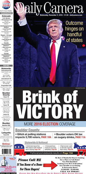 The Daily Camera 2016 Presidential Election Front page