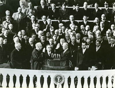 Mr. Dwight D. Eisenhower is sworn in as President of the U.S. to succeed President Harry S. Truman by Chief Justice Fred M. Vinson.  The National Archive / Unwritten Record Blog https://unwritten-record.blogs.archives.gov/2017/01/10/a-look-at-inauguration-day-through-the-years-inaugural-photographs-and-facts/