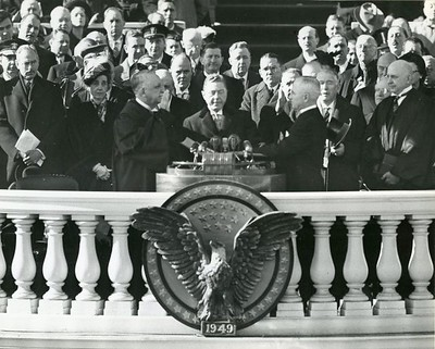 The inauguration ceremony of President Harry S. Truman and Vice President Alben W. Barkley at the Capitol in Washington, D.C.  The National Archive / Unwritten Record Blog https://unwritten-record.blogs.archives.gov/2017/01/10/a-look-at-inauguration-day-through-the-years-inaugural-photographs-and-facts/