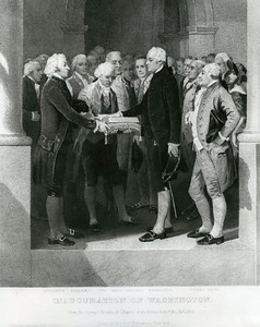 The Inauguration of George Washington as President. Federal Hall, New York City, April, 1789. From the paining by Alonzo Chappel.