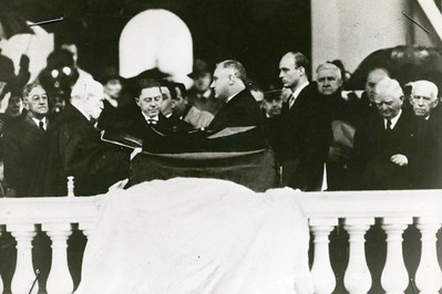 Standing in a driving rain, U.S. President Franklin Roosevelt takes the oath of office on January 20, 1937.  The National Archive / Unwritten Record Blog https://unwritten-record.blogs.archives.gov/2017/01/10/a-look-at-inauguration-day-through-the-years-inaugural-photographs-and-facts/