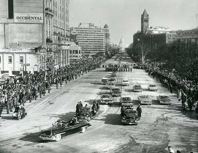 Kennedy's Inauguration Parade.  The National Archive / Unwritten Record Blog https://unwritten-record.blogs.archives.gov/2017/01/10/a-look-at-inauguration-day-through-the-years-inaugural-photographs-and-facts/
