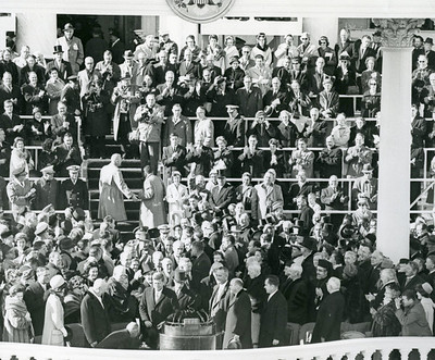 John F. Kennedy's 1961 Inauguration.  The National Archive / Unwritten Record Blog https://unwritten-record.blogs.archives.gov/2017/01/10/a-look-at-inauguration-day-through-the-years-inaugural-photographs-and-facts/