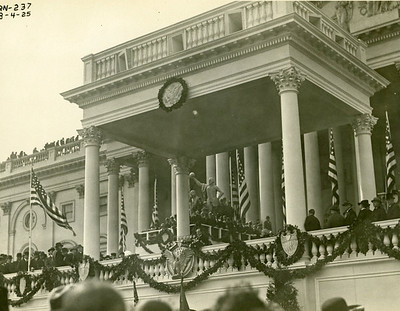 President Coolidge delivering address. Taken 3/4/1925.  The National Archive / Unwritten Record Blog https://unwritten-record.blogs.archives.gov/2017/01/10/a-look-at-inauguration-day-through-the-years-inaugural-photographs-and-facts/